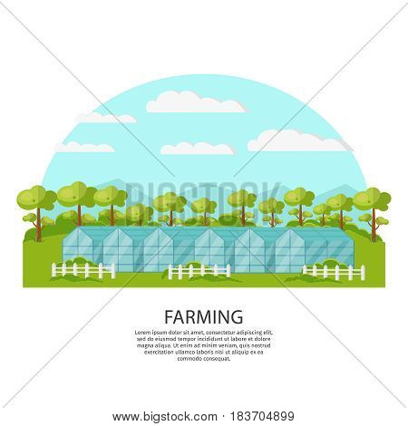 Colorful agronomy and agriculture concept with greenhouse and garden on nature landscape vector illustration
