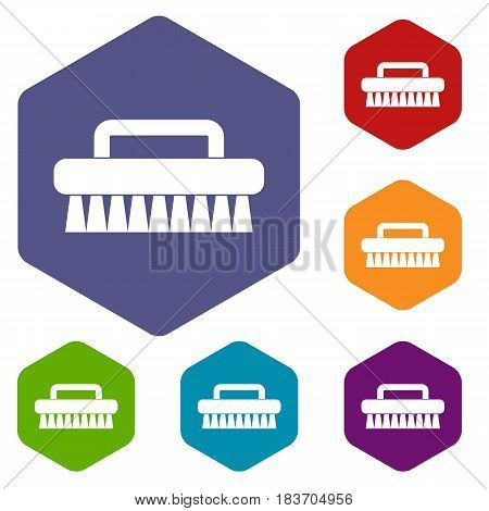 Cleaning brush icons set hexagon isolated vector illustration