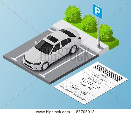 Isometric vector illustration Car in the parking lot and Parking tickets.