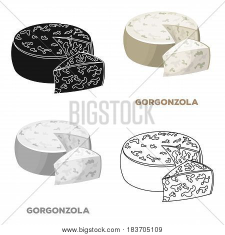 Gorgonzola.Different kinds of cheese single icon in cartoon style vector symbol stock illustration .