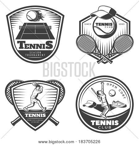 Vintage tennis emblems set with flaming ball above court sport equipment clothes and players isolated vector illustration