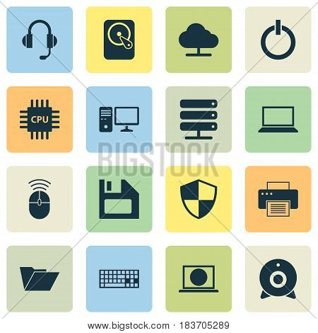Laptop Icons Set. Collection Of Computer Mouse, Laptop, Defense And Other Elements. Also Includes Symbols Such As Power, Shield, Machine.
