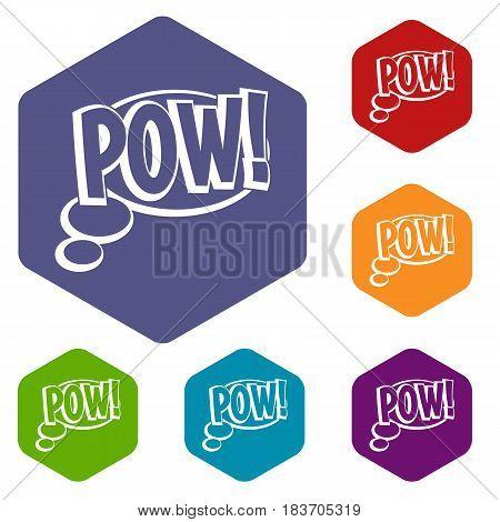 Pow, speech bubble icons set hexagon isolated vector illustration