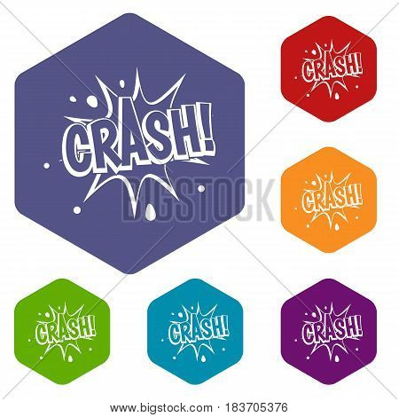 Crash explosion icons set hexagon isolated vector illustration