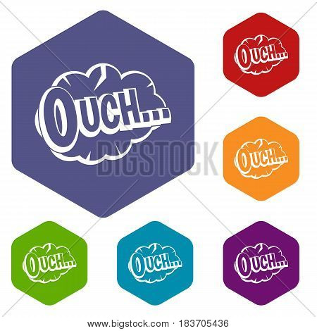 Ouch, speech cloud icons set hexagon isolated vector illustration