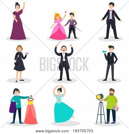 People in theatre set with singers musicians actors spectators conductor dresser and operator isolated vector illustration poster