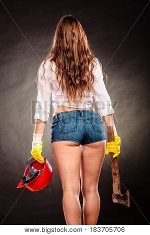 Sexy Strong Woman Feminist With Axe And Helmet