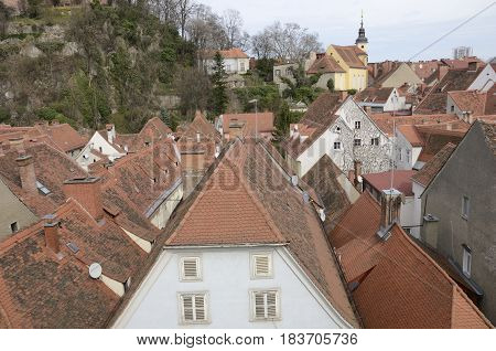 Roofscape from the terrace of the Kastner and Ohler warehouses in Graz the capital of federal state of Styria Austria.