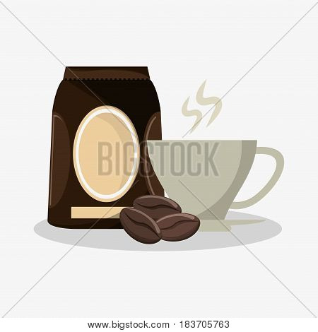 porcelain cup with packaking of coffee and beans vector illustration