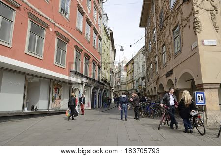 GRAZ, AUSTRIA - MARCH 20, 2017: People at street of the Old Town of Graz the capital of federal state of Styria Austria.