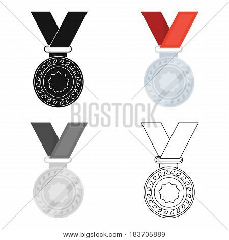 Silver medal on a red ribbon.The award for second place in the competition .Awards and trophies single icon in cartoon style vector symbol stock web illustration.