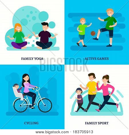 Colorful sport family square composition with yoga physical trainings games and activities in flat style vector illustration