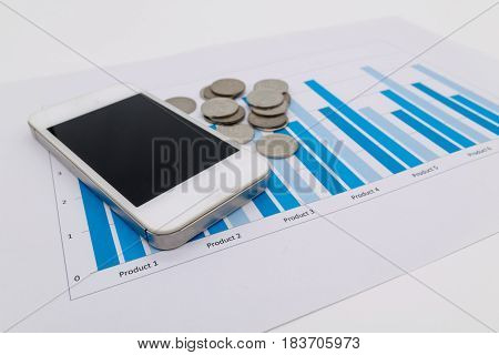 Mobile smart phone and graph report , fintech concept.