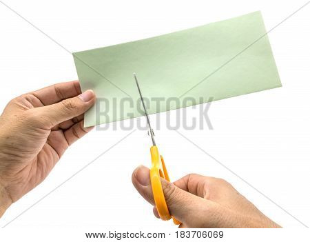 male hand holding scissors on isolated background with clipping path.