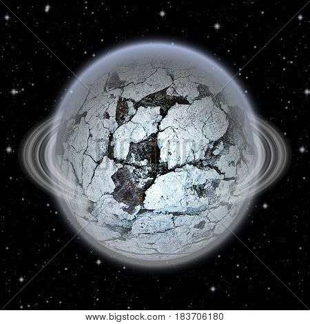 Unknown celestial body with frozen surface.Gray, white, black and blue abstract planet with silver ring and cracked surface