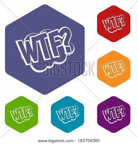 WTF, comic book bubble text icons set hexagon isolated vector illustration