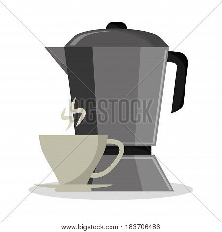 set metallic jar with porcelain cup of coffee vector illustration