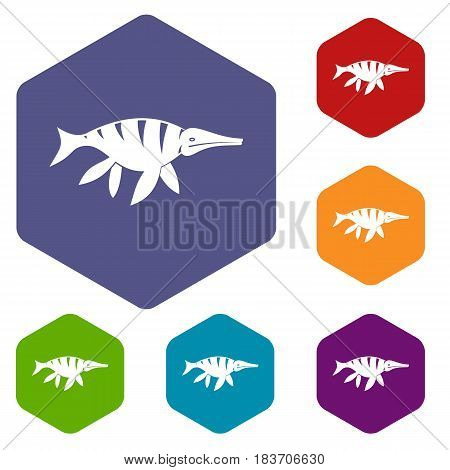 Aquatic dinosaur icons set hexagon isolated vector illustration