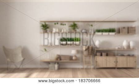 Blur background interior design eco interior design with wooden bookshelf vertical garden storage shelving living lounge relax area with armchairs, 3d illustration