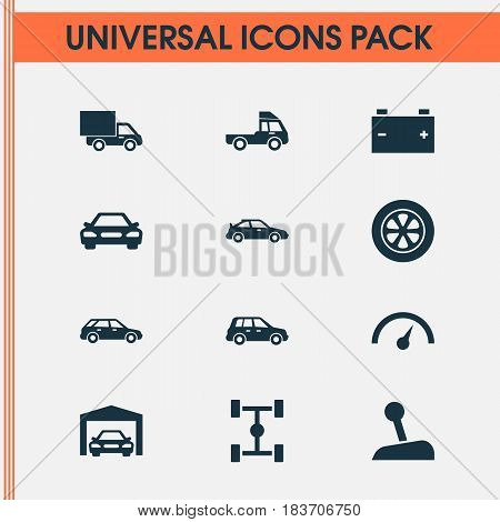 Auto Icons Set. Collection Of Chronometer, Van, Stick And Other Elements. Also Includes Symbols Such As Gear, Chronometer, Repairing.
