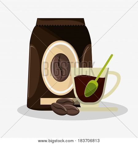 porcelain glass cup with packaking of coffee and beans vector illustration