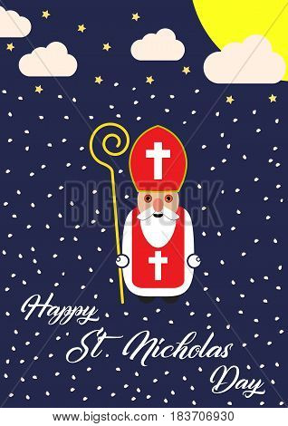 Cute cartoon greeting card with Saint Nicholas character