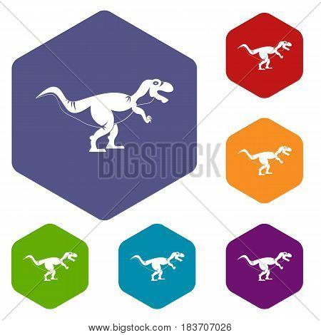 Tyrannosaur dinosaur icons set hexagon isolated vector illustration