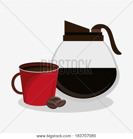 set glass jar of coffee with porcelain mug and beans vector illustration