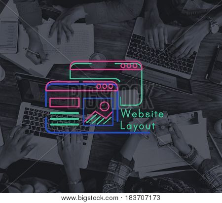 Group of workers working on laptop network graphic