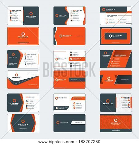 Set Of Modern Business Card Print Templates. Horizontal Business Cards. Red And Black Colors. Person