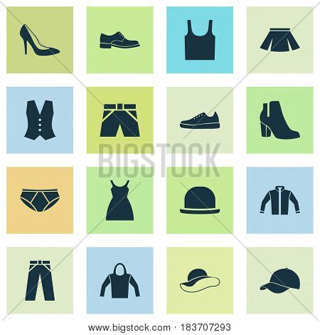 Garment Icons Set. Collection Of Briefs, Sneakers, Pants And Other Elements. Also Includes Symbols Such As Leggings, Underpants, Tank.