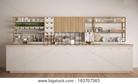 Minimalist white wooden kitchen with appliances close-up scandinavian classic interior design, 3d illustration