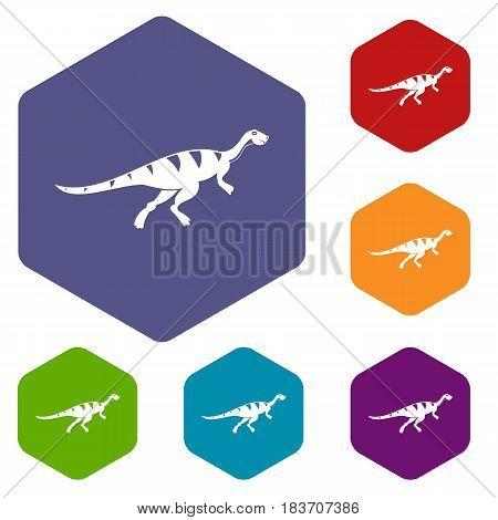Gallimimus dinosaur icons set hexagon isolated vector illustration