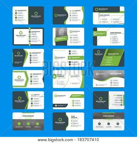 Set Of Modern Business Card Print Templates. Horizontal Business Cards. Green And Black Colors. Pers