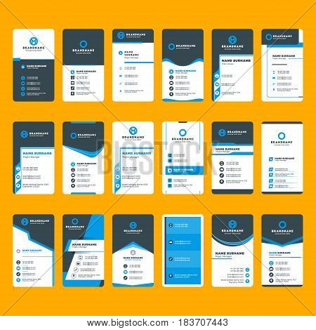Set of modern business card print templates. Vertical business cards. Blue and black colors. Personal visiting card with company logo. Vector illustration. Stationery design