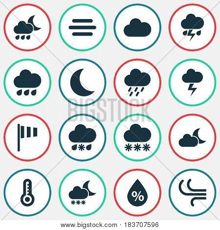 Climate Icons Set. Collection Of Lightning, Cloudy, Moisture And Other Elements. Also Includes Symbols Such As Nightly, Outbreak, Cloudy.