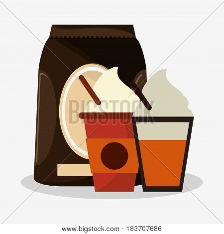 packaking of coffee with set glass disponsable of cappucino with cream vector illustration