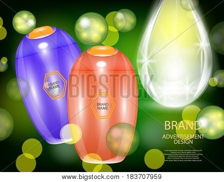 Glamorous Hair Care Products Packages with dropper on the sparkling effects background. Mock-up 3D Realistic Vector illustration for design template