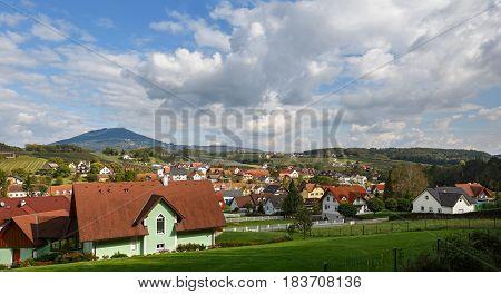 Austrian village Etzersdorf-Rollsdorf (part of the municipality Sankt Ruprecht an der Raab) in the fall. Federal state Styria, Austria.