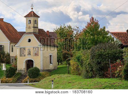 Old church in Austrian village Perndorf. Municipality Puch bei Weiz,  federal state Styria, Austria.