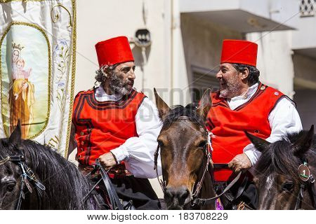 CAGLIARI, ITALY - MAY 1 2015,: 359 Religious procession of Sant'Efisio - parade in Sardinian traditional costume - Sardinia