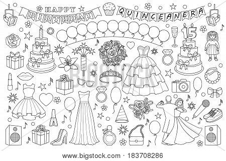 Girl bitrhday doodle set on white background. Vector objects and elements for birthdays, quinceanera, party and graduation ball. Coloring page.