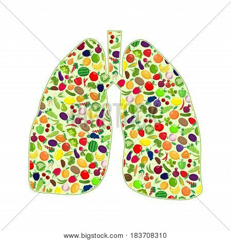 Lungs silhouettes with fruit and vegetables isolated on white background