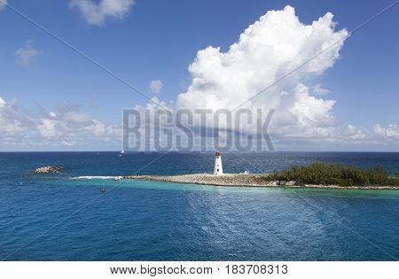 The view of Paradise Island tip with a lighthouse (Bahamas).