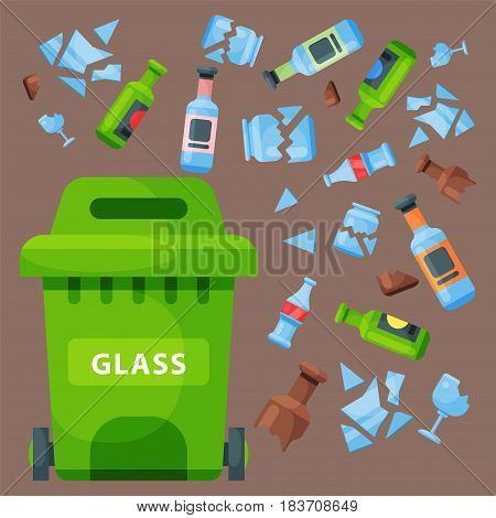Recycling garbage glass elements trash bag tires management industry utilize concept and waste ecology can bottle recycling disposal box vector illustration. Eco pollution refuse service.