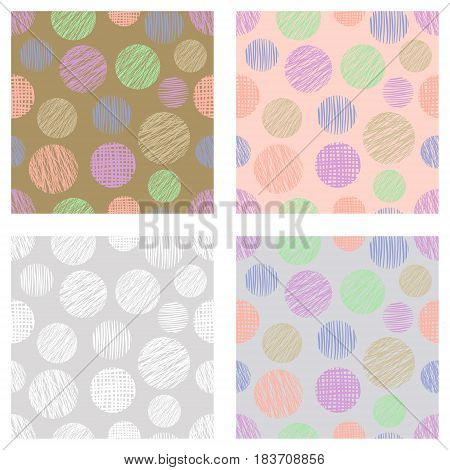 Set Of Seamless Vector Geometrical Patterns With Circles Pastel Endless Background With Hand Drawn T