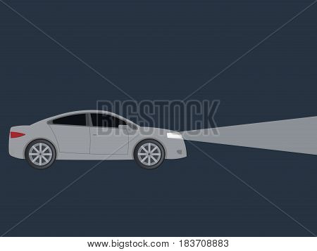 Light from car headlights in night isolated on background. Vector illustration. Eps 10.