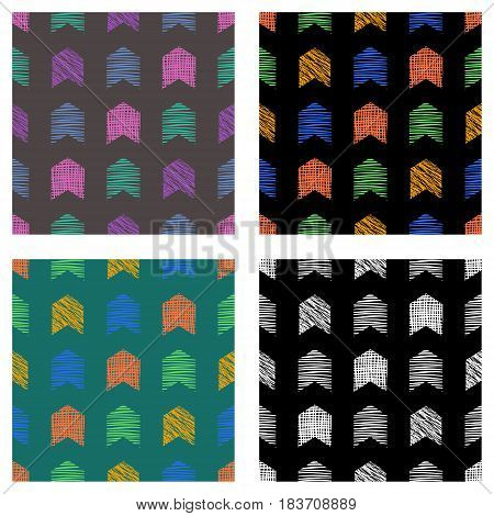 Set Of Seamless Vector Geometrical Patterns With Arrows. Pastel Endless Background With Hand Drawn T