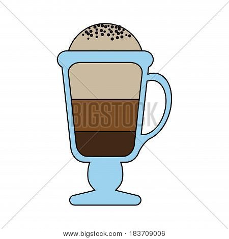 color graphic glass cup of cappuccino with foam vector illustration