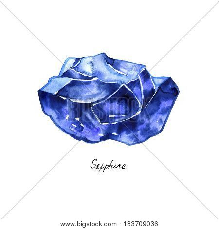Blue sapphire gemstone isolated watercolor. Crystal mineral illustration on white background.